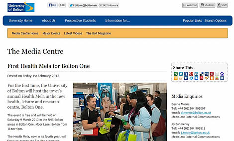 Screenshot from Bolton University website