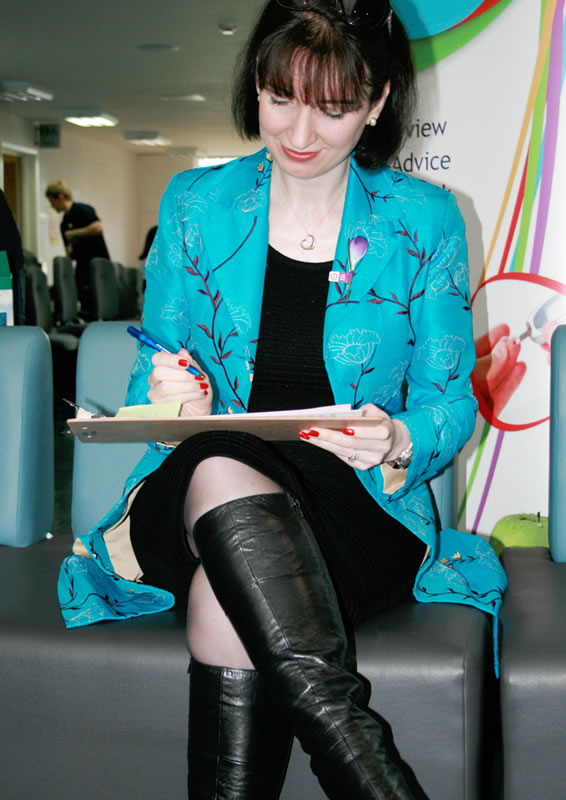 Dr Lishman completing a health questionnaire