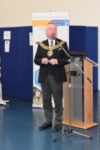 Councillor Martin Donaghy, Mayor of Bolton opening the Health Mela