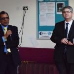 Professor Gupta welcomes the MP Mr Davies
