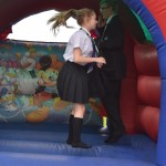 Enjoying the bouncy castle