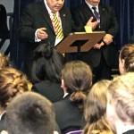 Pietro de Luca of Rotary Leyland congratulates students