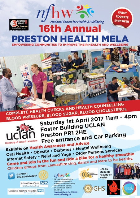 Preston Health Mela poster 2017 - blood checks, health counselling, free entry and parking; 1st April, UCLan Foster Building.